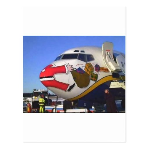 SANTA CLAUS AIRLINER MID-AIR POST CARD