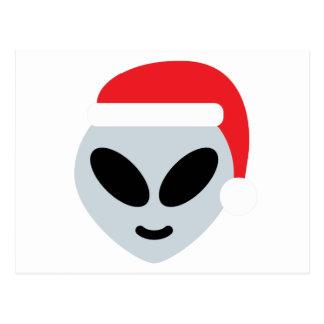 santa claus alien emoji postcard