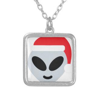 santa claus alien emoji silver plated necklace