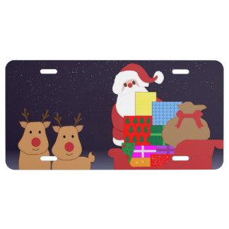 Santa Claus and 2 reindeer illustration License Plate