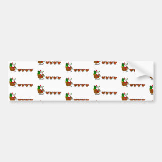 Santa Claus And Chickens Bumper Sticker