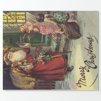Santa Claus and Christmas Angels Wrapping Paper