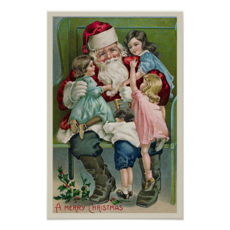 """""""Santa Claus and Four Children"""" Poster"""