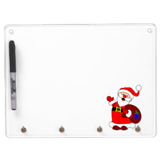 Santa Claus and gift bag clipart Dry Erase Board With Keychain Holder