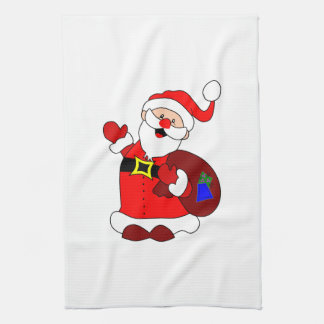 Santa Claus and gift bag clipart Kitchen Towel