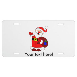 Santa Claus and gift bag clipart License Plate