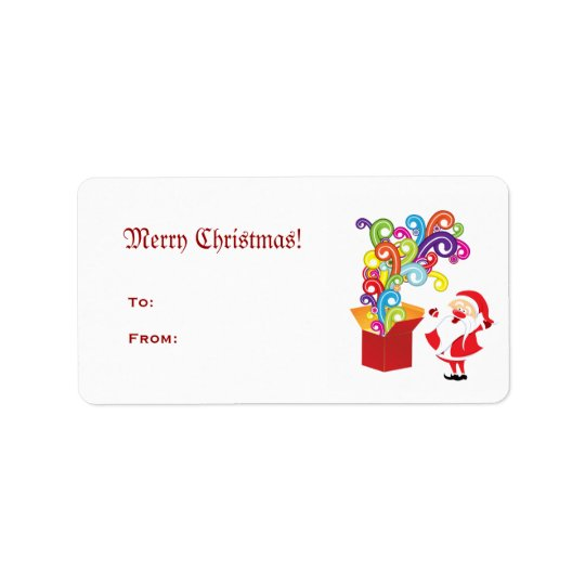 Santa Claus And Gift Box Avery Label