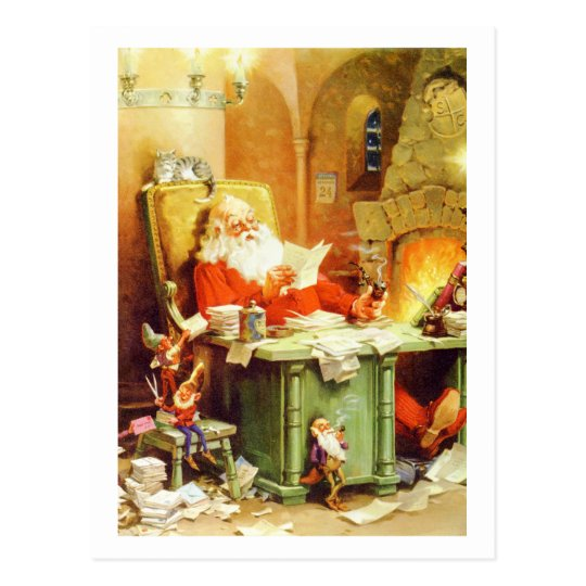 Santa Claus and His Elves Check His List Postcard