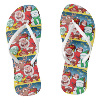 Santa Claus and his team are ready for Christmas Flip Flops