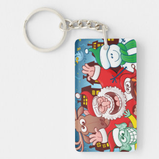 Santa Claus and his team are ready for Christmas Keychain