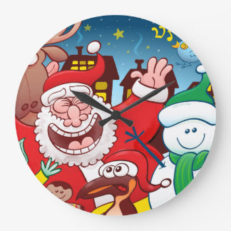 Santa Claus and his team are ready for Christmas Large Clock