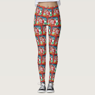 Santa Claus and his team are ready for Christmas Leggings