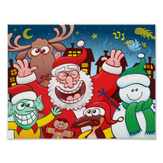 Santa Claus and his team are ready for Christmas Poster