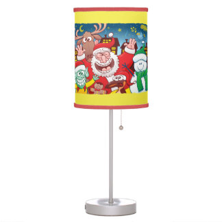 Santa Claus and his team are ready for Christmas Table Lamp