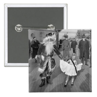Santa Claus and Little Girl on Deck 1925 Pin