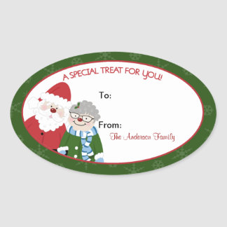 Santa Claus and Mrs. Claus Oval Baking Labels Oval Sticker