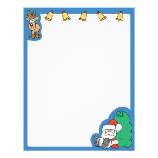 Santa Claus and Reindeer Christmas Personalized Letterhead