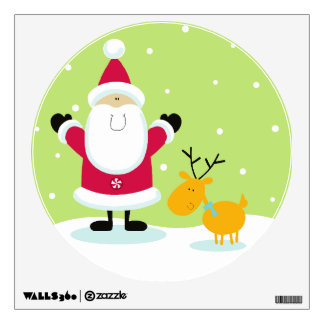 Santa Claus and Reindeer Christmas Tree Wall Sticker