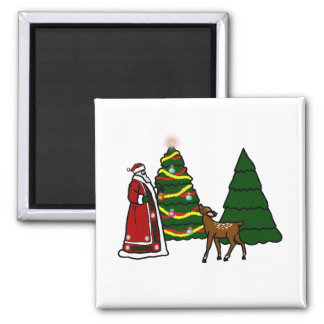 Santa Claus And Reindeer Magnet