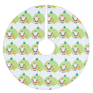 Santa Claus and Reindeer Snow Globe Christmas Brushed Polyester Tree Skirt