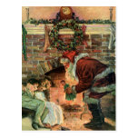 Santa Claus and Sleeping Children by the Fireplace Post Cards