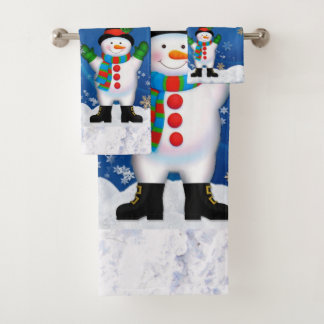 Santa Claus and Snowman Bathroom Towel Set