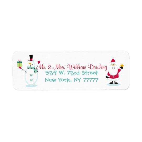 Santa Claus and Snowman Christmas Return Address