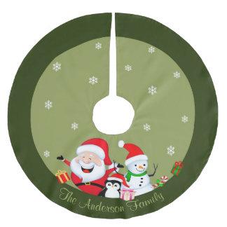 Santa Claus and Snowman Christmas tree skirt