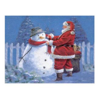 Santa Claus and Snowman Postcard