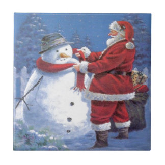 Santa Claus and Snowman Tile