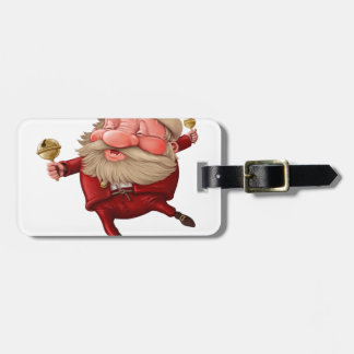 Santa claus and the bell's dancing luggage tag
