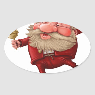Santa claus and the bell's dancing oval sticker