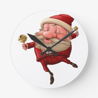 Santa claus and the bell's dancing round clock