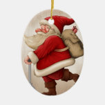 Santa Claus and the Push scooter Ceramic Oval Ornament