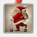 Santa Claus and the Push scooter Silver-Colored Square Ornament