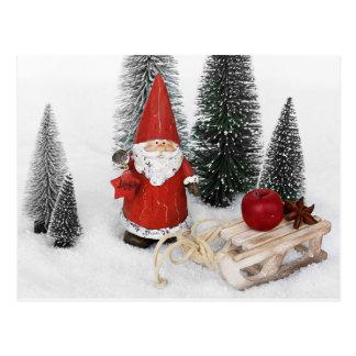 Santa Claus and the sled postcard