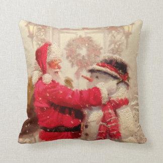 Santa Claus and The Snowman Christmas Throw Pillow