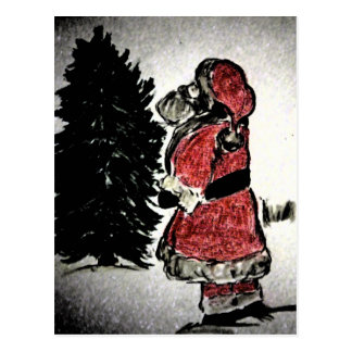 Santa Claus and Tree Post Card