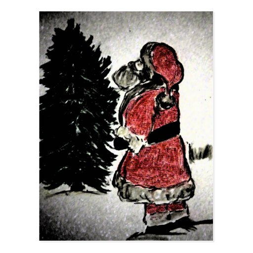 Santa Claus and Tree Post Card