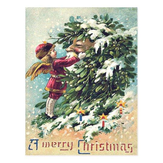 Santa Claus Angel Cherub Mistletoe Postcard