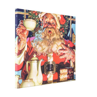 Santa Claus at Home Stretched Canvas Prints