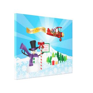 Santa Claus Biplane Flies Over Winter Snow Print Stretched Canvas Prints