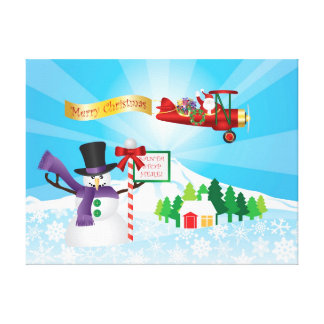 Santa Claus Biplane Flying in Winter Snow Poster Gallery Wrap Canvas