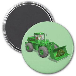 Santa Claus Bulldozer Operator 3 Inch Round Magnet