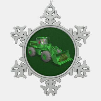 Santa Claus Bulldozer Operator Snowflake Pewter Christmas Ornament