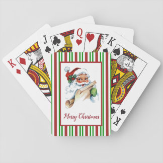 Santa Claus Candy Cane Pattern Your Greeting Playing Cards