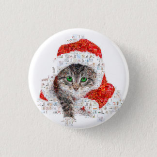 santa claus cat - cat collage - kitty - cat love 1 inch round button