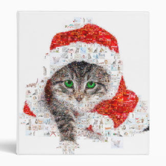 santa claus cat - cat collage - kitty - cat love 3 ring binder