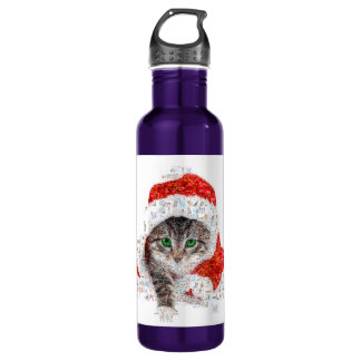 santa claus cat - cat collage - kitty - cat love 710 ml water bottle