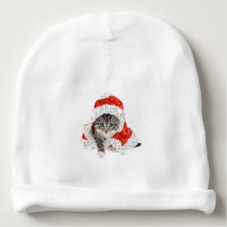 santa claus cat - cat collage - kitty - cat love baby beanie